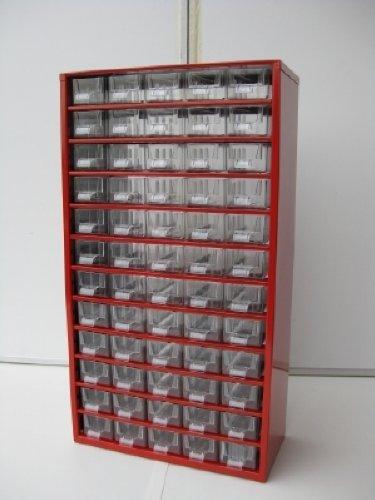 Kleinteilemagazin Metall blau 306x146x285 mm 30 Glasklare Kunststoff-Schubladen + 10 Trennstege