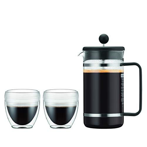 Bodum K1508-01SA-10 Bistro Set 2 Becher PAVINA Outdoor 0,25 l + Kaffeebereiter aus Kunststoff, 8 Tassen, 1 l, Schwarz