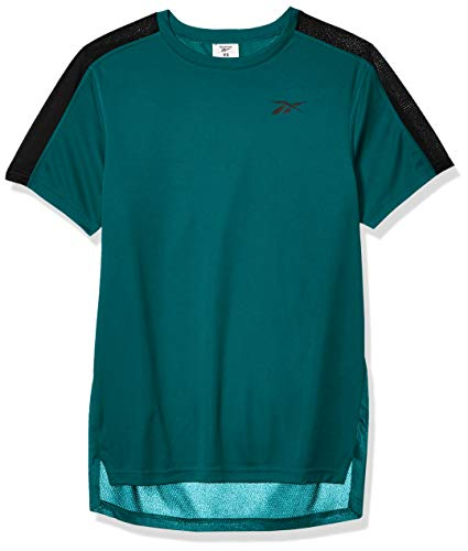 Reebok Workout Ready - Camiseta de Manga Corta para Entrenamiento, Color Verde Azulado