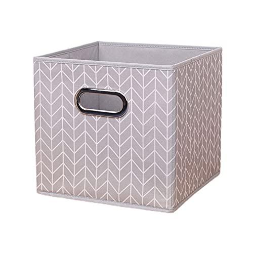 Caja de almacenamiento no tejida con mango de Metal, cestas de almacenamiento portátiles plegables a rayas para ropa, artículos diversos, juguetes, armario, habitación