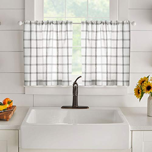 ELRENE HOME FASHIONS 농가 생활 이중 창문 격자 무늬 창 주방 | 카페 및 욕실 2 30X36 흰색 | 회색의 욕실 세트