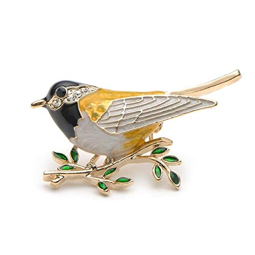 EJY Rhinestone Enamel Oriole Bird Branch Pins Brooches for Men Women Suits Dress Banquet Brooch Gift(black)