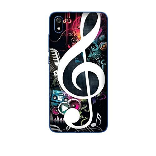 Funda Redmi 7A Carcasa Compatible con Xiaomi Redmi 7A Música Clave de Sol con micrófono Nota Musical Guitarra/Imprimir también en los Lados. / Teléfono Hard Snap en Antideslizante Antideslizante