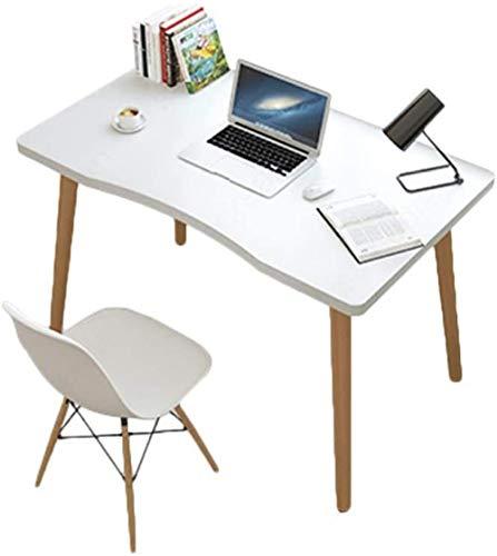 Escritorio de madera para computadora, computadora moderna, computadora portátil, estudio, juegos, escritura, estación de trabajo, escritorio ergonómico, para registros de oficina-Blanco cálido._Los