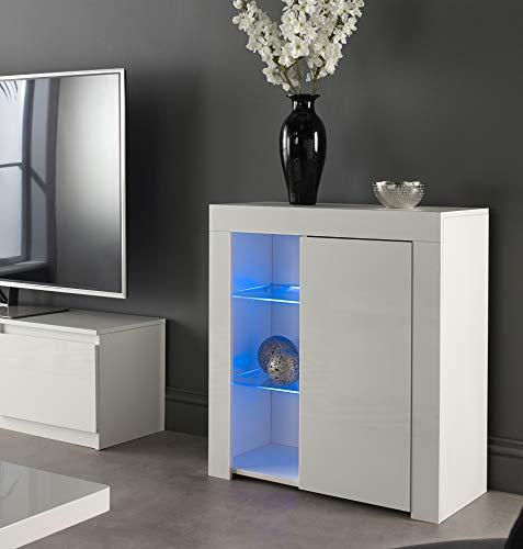 MMT Furniture Designs Ltd Buffet moderne avec lumières LED Blanc brillant et mat, blanc, Small