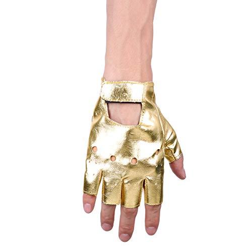 TiaoBug Punk Rock Leder Halbfinger Fahrrad Handschuhe Männer Frauen Gothic Zubehör für Cosplay Halloween Kostüm Sport Nachtclub Gold One Size