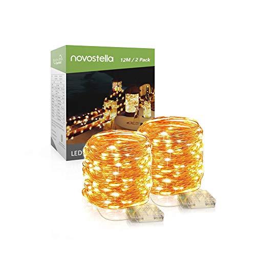 [2 Packs] Novostella Stringa Luci LED 12 Metri 120 LEDs, 8 Modalità Impermeabile IP65 Catena Luminosa Filo di Rame Alimentata a Batteria, Luce Bianco Caldo per Natale, Balconi, Festival