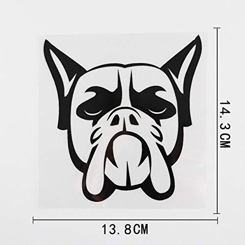FAFPAY Sticker de Carro 13.8cmx14.3cm Divertido Boxer Dog Head Vinilo Etiqueta engomada del Coche Impermeable dblack Negro/Plateado 8a-0014Negro