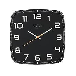 NEXTIME Classy Square Wall Clock, 30.5 x 30.5, Black
