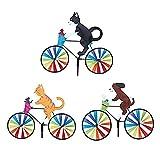 QZXX Niedliches 3D-Tier-Windrad auf dem Fahrrad Whirligig Garten Windmühle Wind Spinner Whirligig Katze Fahrrad Windrad Windspiele Gartenstecker Gartendeko FüR DraußEn GäRten (Paket A, 3 Stck)