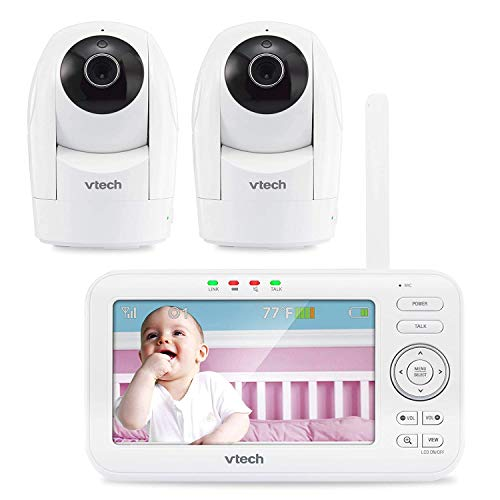 """VTech VM5262-2 5"""" Digital Video Baby Monitor with 2 Pan & Tilt Cameras and Full-Color and Automatic Night Vision, White (Renewed)"""