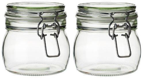 Juego de 2 tarros de cristal con tapón hermético (0,5 L), transparente
