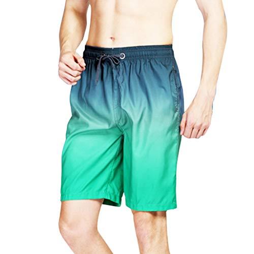 NEEKY Men Pants Splice Herren Farbverlauf Splice Strandarbeit Casual Men Short Trouser Shorts Pants Herren Hosen Cargo Jeans(3XL,Blau)