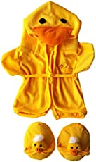 """Duck Robe & Slippers Pajamas Outfit Teddy Bear Clothes Fit 14\\"""" - 18\\"""" Build-A-Bear and Make Your Own Stuffed Animals"""