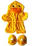 "Duck Robe & Slippers Pajamas Outfit Teddy Bear Clothes Fit 14"" - 18"" Build-A-Bear and Make Your Own Stuffed Animals"