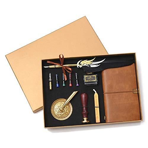 Ydh Retro Vintage caligrafía pluma pluma pluma pluma escritura tinta cuero cuaderno conjunto papelería caja regalo Bible