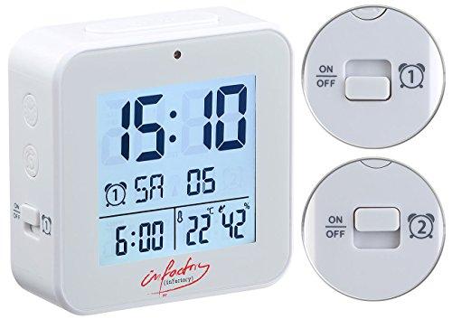 infactory Wecker Zwei Weckzeiten: Funk-Wecker mit 2 Weckzeiten, Thermo-Hygrometer, Lichtsensor, weiß (Funkwecker mit 2 Weckzeiten)