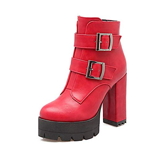 LYWNXEZ dames vechtlaarzen PU herfst & winterlaarzen blokhak ronde teenlaarsjes/enkellaarzen gesp zwart/grijs/rood