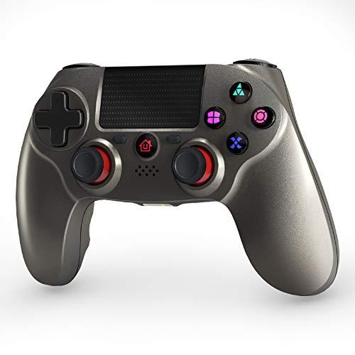 OCDAY Mando Juego Inalámbrico, Inalámbrico Mandos Gamepad Joystick Compatible para PS4 y PC Windows con Doble Vibración y 6-Axis Gyro Sensor, Touch Panel y Función Audio