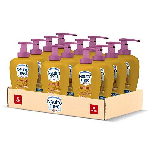 Neutromed Detergente Mani Liquido Sensual&Oil, Sapone Igienizzante Mani, Profumo di Fiori di Monoi, 12 x 300 ml