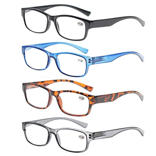Gafas de Lectura, 4 Paquetes Paquetes DE Lectura PLÁCTORES, PRESIÓN Unisex for Hombres Mujeres, LECTORES Lentes for la bisagra de Primavera 0 +1 +1.5 +2 +2.5 +3 (Color : +100, Size : 4pcs)