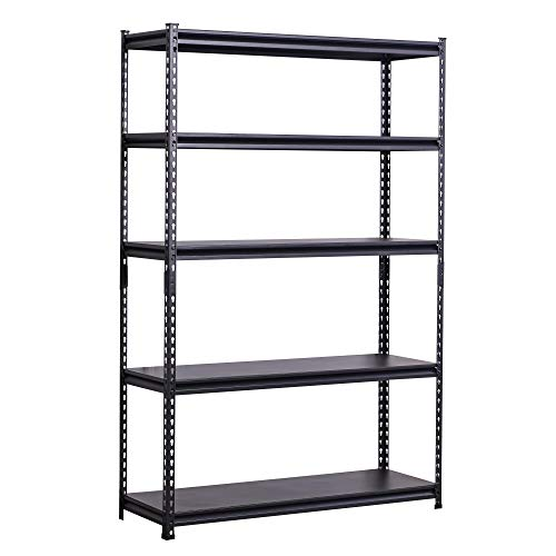 BAAB ORGANIZING Garage Shed Storage Shelving Unit,153x 80x 30cm, Heavy Duty Metal Racking, Steel Boltless Shelves,Black 5 Tier Steel Shelves (100 KG Per Shelf)
