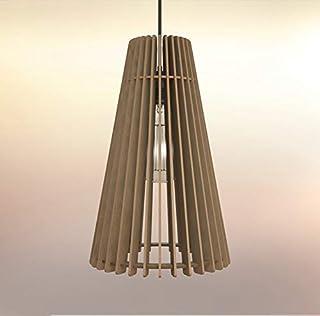 Lampadario Lampada sospensione Paralume rustico moderno in legno - Design Cono