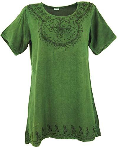 Guru-Shop Besticktes Indisches Hippie Top, Boho-chic Bluse, Damen, Grün, Synthetisch, Size:40, Tops & T-Shirts Alternative Bekleidung