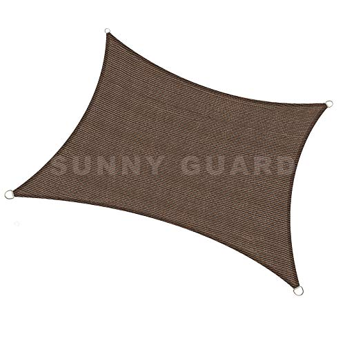 "SUNNY GUARD 6.5' x 9'10"" Brown Rectangle Sun Shade Sail UV Block for Outdoor Patio Garden"