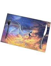 ONLED Värmeisolering matbord bordstablett PVC fläckbeständiga stora bordsmattor för kök matbord dekoration, halkfria bordsunderlägg (6 delar, fantasi eld ängelmattor)