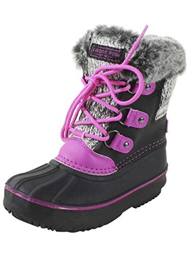 LONDON FOG Girls Tottenham Cold Weather Snow Boot BK/PK Size 2 Black/Pink