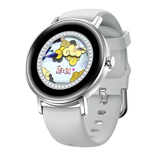 AKlamater Reloj inteligente para mujer, reloj deportivo con pantalla táctil completa, monitor de actividad, monitor de ritmo cardíaco, presión arterial, fitness Smartwatch (plateado)