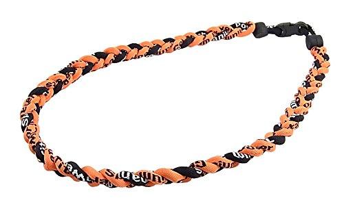 三つ編みゲルマニウムネックレス スポーツネックレス アスリートネックレス KY-5mm 黒/オレンジ