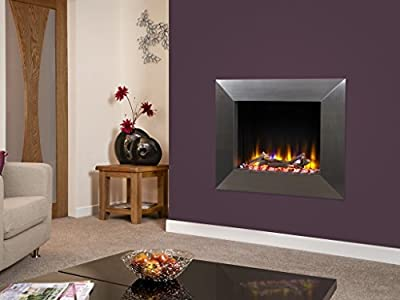 """Celsi Designer Fire Ultiflame VR Impulse 22"""" Satin Silver Wall Mounted Inset Electric Fire"""