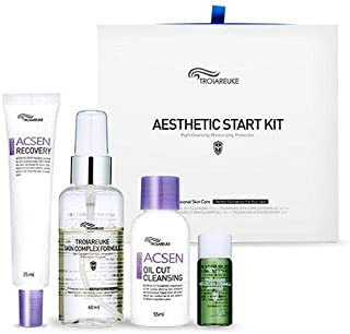 TROIAREUKE Aesthetic Start Kit, Acsen Oil Cut Cleansing + Skin Complex Formula + Healing Cocktail Green + Recovery Cream for Moisturizing Skin Protection