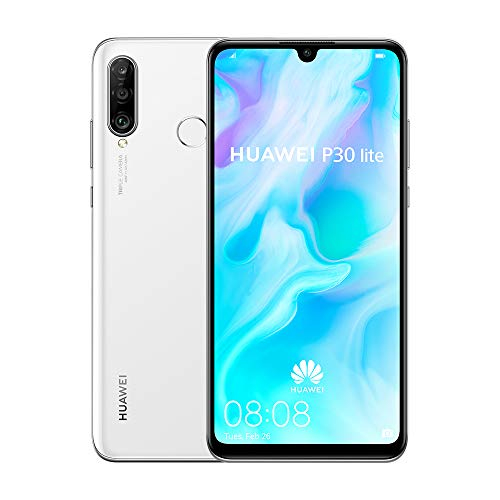 Huawei P30 Lite 128 GB 6.15 Inch FHD+ Dewdrop Display Smartphone with MP AI Ultra-wide Triple Camera, 4 GB RAM, Android 9.0 Sim-Free Mobile Phone, Single SIM, UK Version, White
