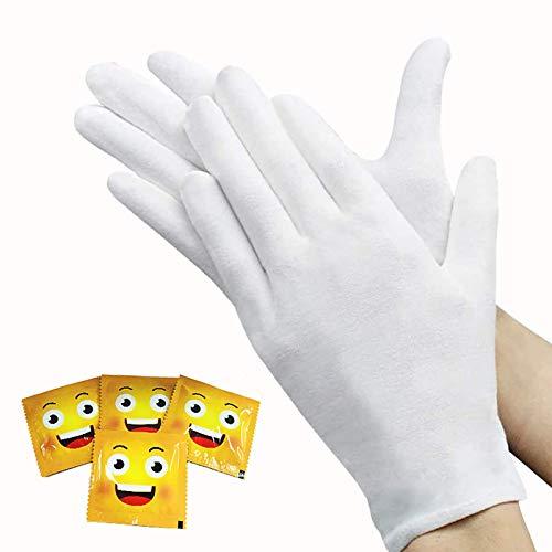 ANDSTON 12 Paar Weiße Handschuhe Baumwolle, Care Baumwollhandschuhe, Stoff Handschuhe Weiss, Bequem und Atmungsaktiv, für Hautpflege, Schmuck Untersuchen, Tägliche Arbeit Usw(Size:XL)
