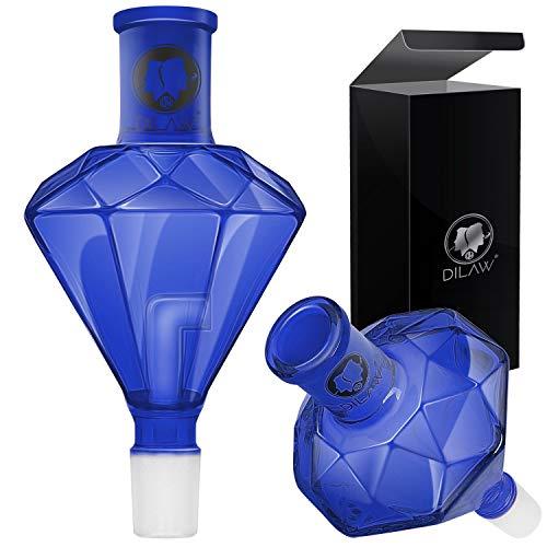 DILAW® Shisha Diamant Molassefänger Totenkopf (aus Glas für (Schliff 18/8) - Wasserpfeife, Vorkühler-Aufsatz Skull Wasserpfeife, Blau