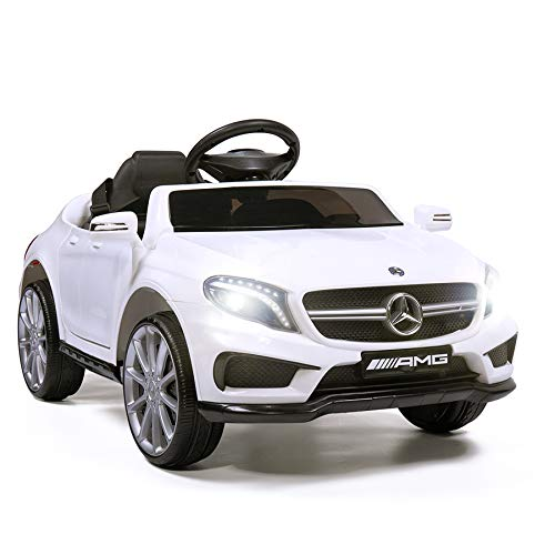 TOBBI Licensed Mercedes Benz Car for Kids,Ride on Cars with 2.4G Remote Control,Double Doors, 5 Point Safety Belt,LED Lights,White