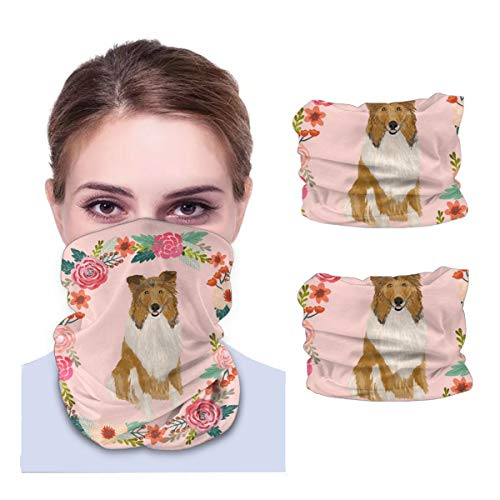 Florals Dog Variety face Towel Seamless Neck Gaiter Shield Scarf Bandana Face Mask UV Protection for Motorcycle Cycling Riding Running Headbands