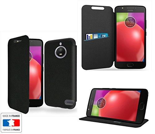 Case-Industry - Custodia lusso per Motorola Moto E4, con supporto, colore: Nero