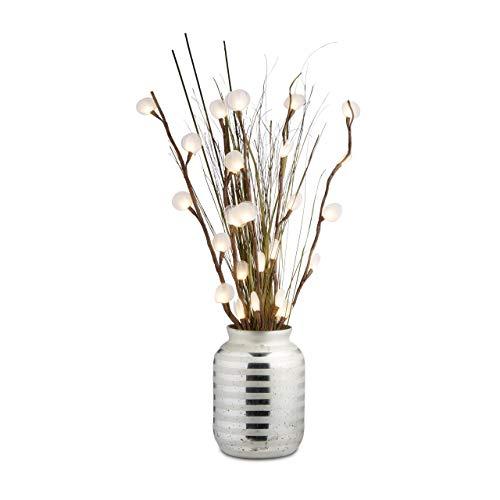 Relaxdays Vase pour grandes fleurs déco verre gris rayures design vase table HxlxP: 32 x 22 x 22 cm, argenté