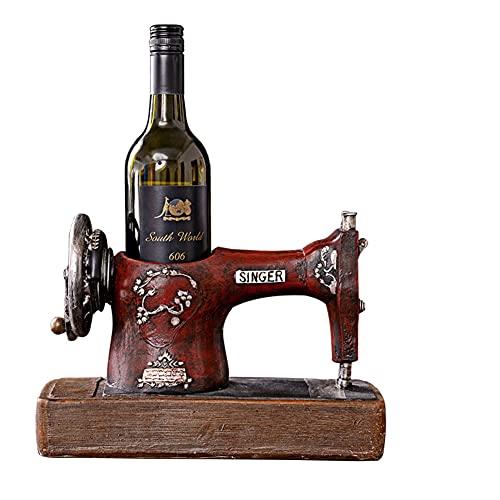 Tastak Estante de Vino Antiguo, Rojo Oscuro, Forma de máquina de Coser, Decoraciones artesanales de Resina, Muebles de gabinete de Vino para Sala de Estar