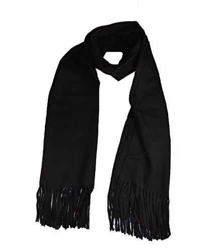 cashmere Grand châle de luxe doux en laine véritable mélangée (noir)