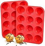 FRSWAY Silikon Muffinform,Muffinblech aus Silikon für 12 Muffins Cupcakes Pudding...