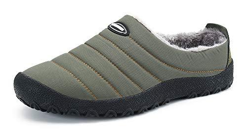 Gaatpot Unisex Adulto Pantofole Invernali Caldo Peluche Slippers Ciabatta da Casa Morbido Antiscivolo Piatto Cotoneinfradito Scarpe Verde 46EU