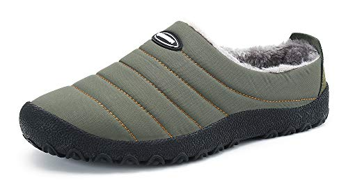 Gaatpot Unisex Adulto Pantofole Invernali Caldo Peluche Slippers Ciabatta da Casa Morbido Antiscivolo Piatto Cotoneinfradito Scarpe Verde 36EU