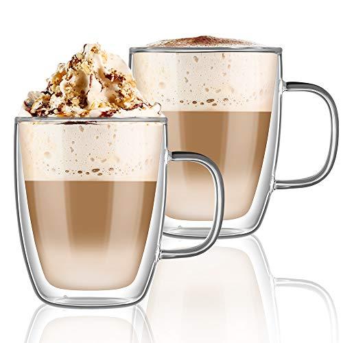 hirmit Tazas de Vidrio de Doble Pared 350ml Taza de café de Vidrio térmico Resistente al Calor con asa Juego de 2 (Vaso-1)