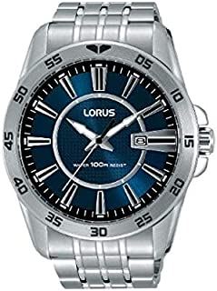 RH971HX9 - Lorus Sports Men's, Quartz, 100m Water Resistant, Stainless Steel, Silver with Blue Dial
