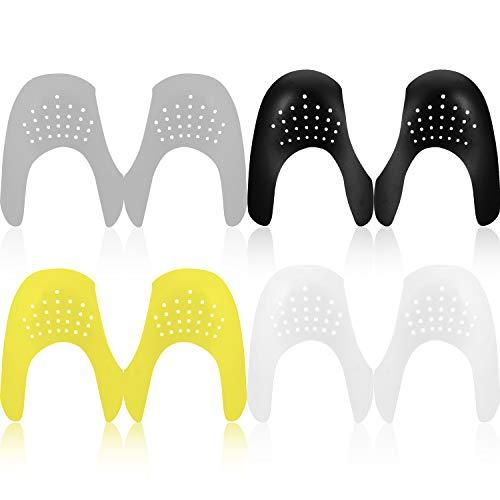 Mudder 4 Paar Schuhe Falten Schutz Zehe Box Abnehmer, Verhindern Sport Schuhe Falte Vertiefung für Herren 7-12/ Damen 5-8 (Schwarz, Weiß, Grau, Gelb)